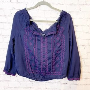 American Eagle Off the Shoulder Embroidered Blouse